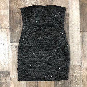 Forever 21 Black Sequin Strapless Mini Dress